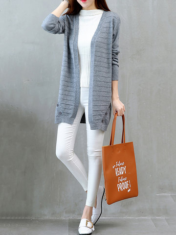 Casual Solid Patchwork Button Long Sleeve Knitted Sweater