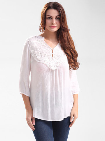 Casual Solid Lace Stitching Hollow Out V-Neck Tops For Women