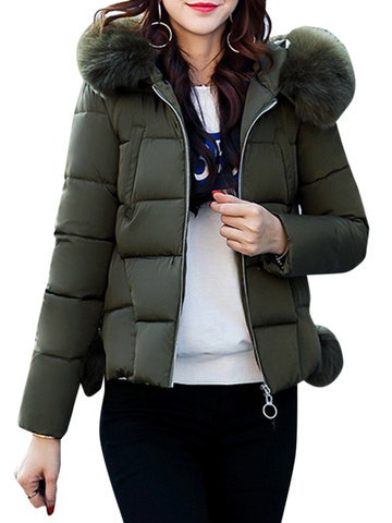 Elegant Pure Color Hooded Down Coat For Women