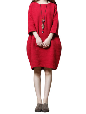 Casual Pure Color Thicken Loose Long Sleeve O-neck Women Dresses