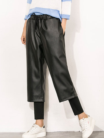 High Waist Fake Two Pieces Pants