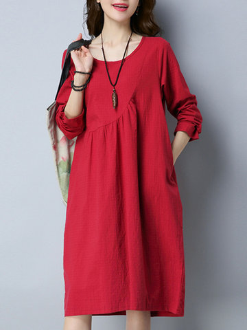 Casual Solid Color O-Neck Long Sleeve Women Dresses