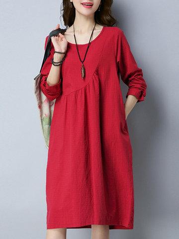 Vestido casual de color puro de cuello en O y manga larga para mujeres