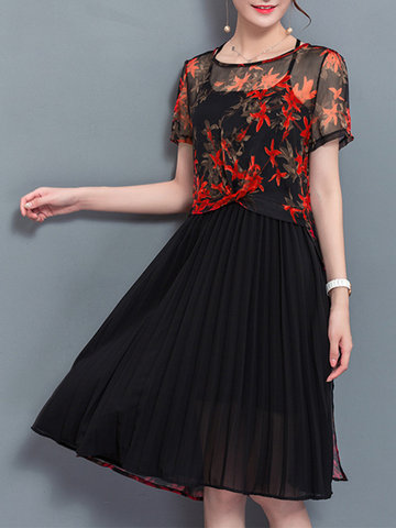 Women Printed O-Neck Short Sleeve Two-Piece Dresses