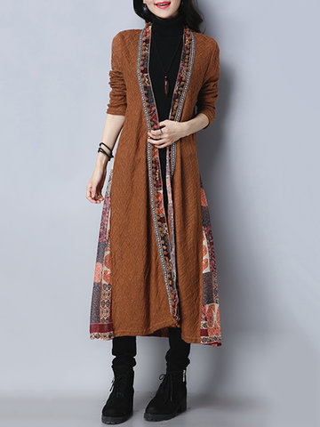 Folk Style Patchwork Women Long Coats