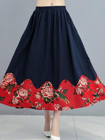 Китайский стиль упругой талии печатных юбки для женщин