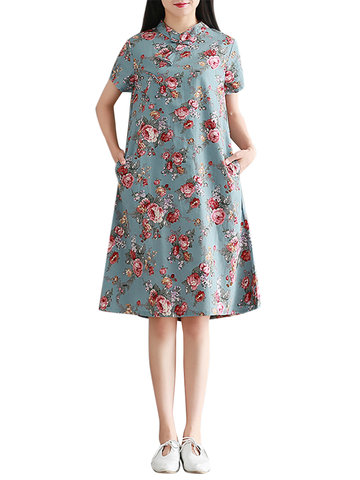 Women Loose Floral Printed Mandarin Collar Short Sleeve Dresses