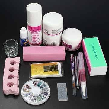 Professional Clipper Acrylic Powder Liquid Glitter Brush Nail Art Tool Set