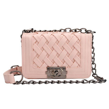 Women Small Plaid Knitted Chain Clutches Shoulder Crossbody Bag