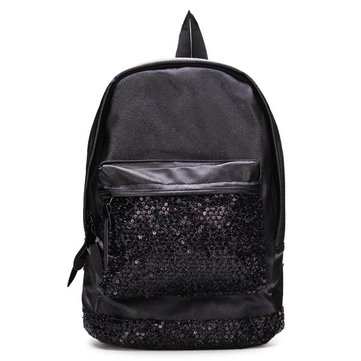 Women Fashion Leather Black Sequined Decorated Backpack Travel Bag