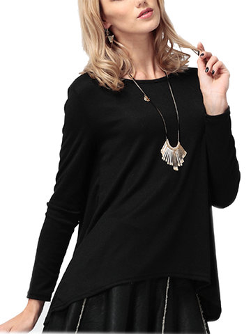 Irregular Hem Solid Color O-Neck Long Sleeve Casual Women T-Shirt