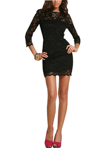 Hollow Out Sexy 3/4 Sleeve Lace Package Buttocks Slim Dress