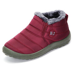 Letter Warm Fur Lining Flat Green Sole Boots For Women