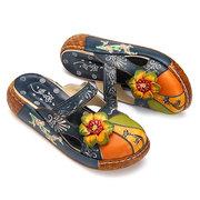SOCOFY Sandálias Coloridas Florais Vintage de Couro com Ocos Sem Costas