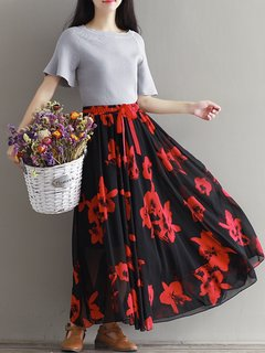 Stylish Chiffon Floral Print Tie High Waist Maxi Skirt For Women ...