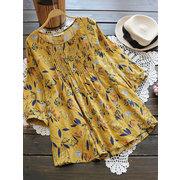 Women Floral Printed 3/4 Sleeve Vintage Blouses