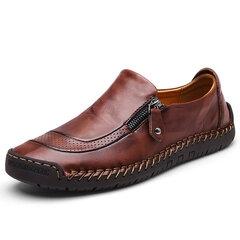 पुरुष हाथ सिलाई जिपर पर्ची-ऑन चमड़े के जूते