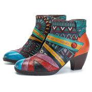 سوكوفي البوهيمي اللون المباراة الربط نمط سستة الأحذية الجلدية الكاحل