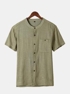 Chemise décontractée en couleur pure à col rond en coton avec bouton pour homme