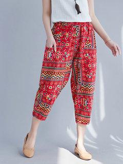 Vintage Printed Pockets Harem Pants for Women - Newchic