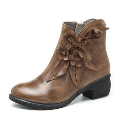 SOCOFY Sooo कॉम्फी विंटेज हस्तनिर्मित पुष्प घुटने चमड़े के जूते